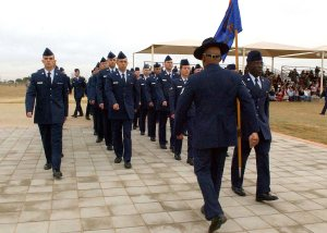 Airmen marching in formation at graduation